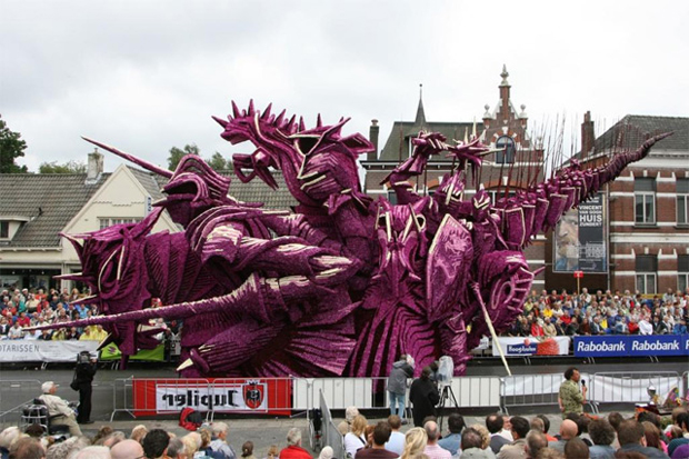 Sculpture made from Knights: Flower Parade in Zundert, Netherlands