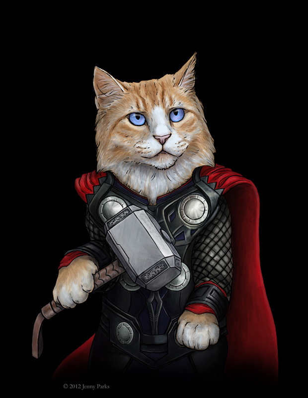Thor-kitty-Cats-Play-As Your-Favorite-Superheros