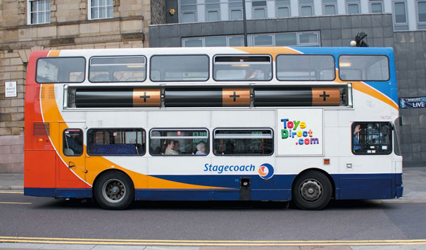 Toysdirect.com: Stacks on the bus-Amazing Ads That Merge With Their Surroundings