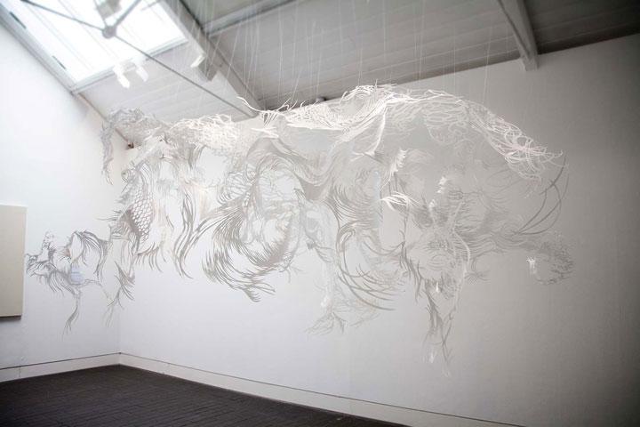 Byaku Polar bear- A 3D paper sculpture Made using Krigami
