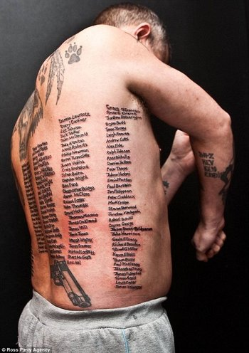 british ex-soldier tatooed with all 232 of his comrades