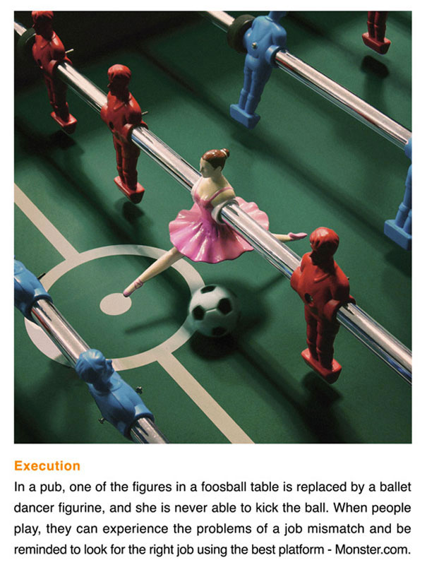 Monster.com Foosball - Stuck in the wrong job?-Amazing Ads That Merge With Their Surroundings