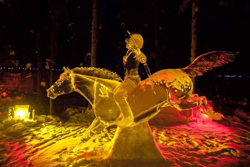 man on horse ice sculpture made from single ice block