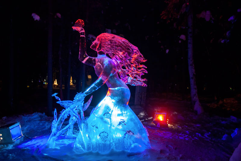 girl ice sculpture made from single ice block