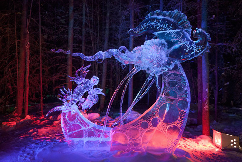 moon ice sculpture made from single ice block