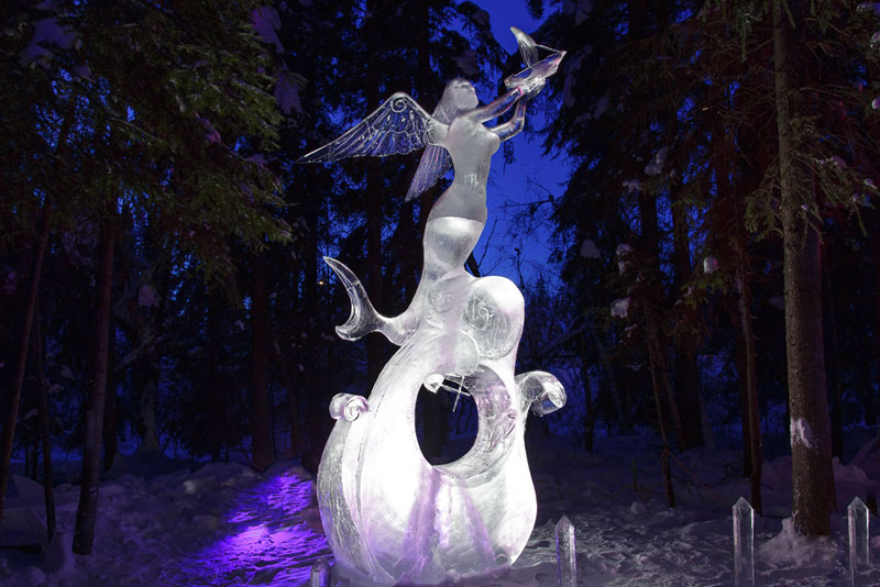 fairy ice sculpture made from single ice block