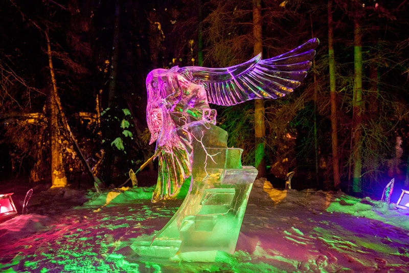 ice sculpture made from single ice block