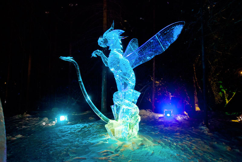 dragon ice sculpture made from single ice block