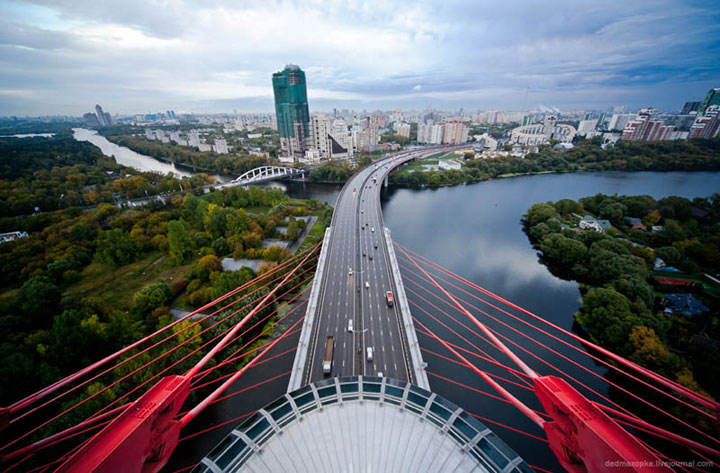 Amazing photo taken from top of a bridge in  Moscow, Russia