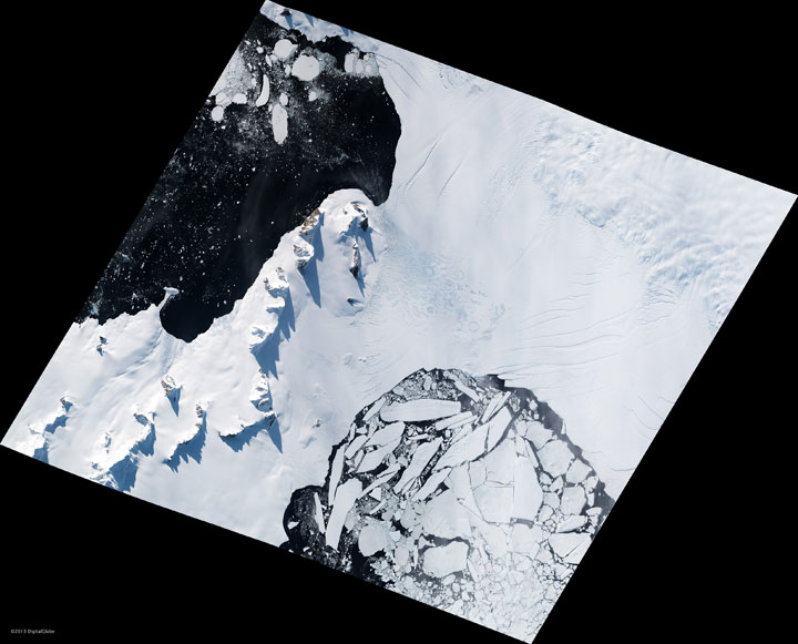 Broken Antarctic glaciers