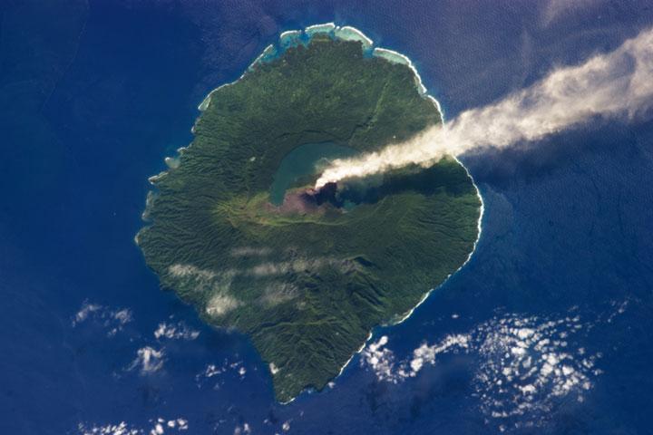 Smoke of volcano Gaua - Vanuatu Archipelago