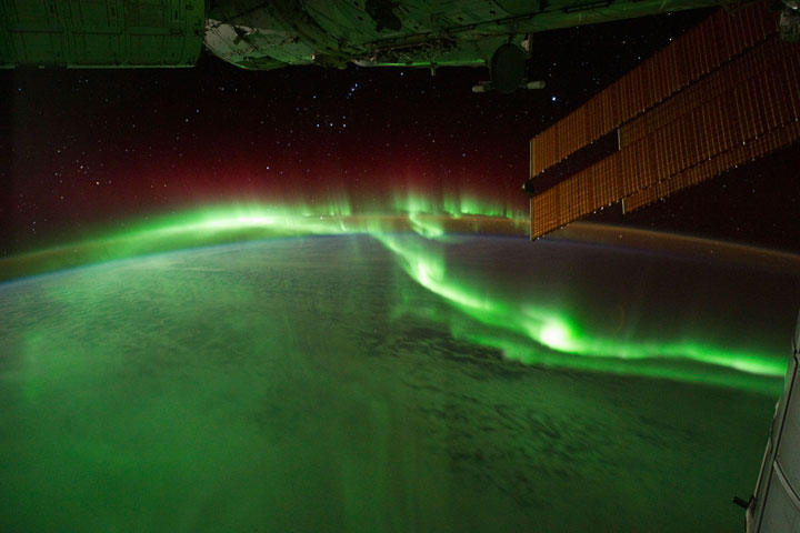 Aurora photos taken from the International Space Station