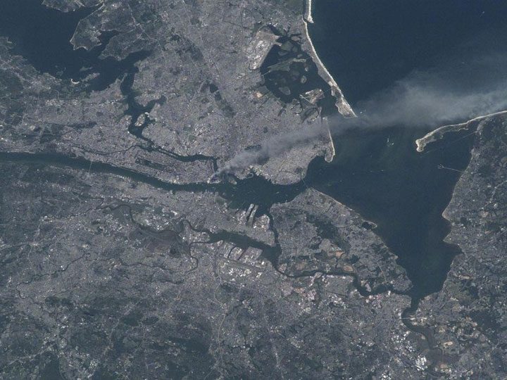 Trail of smoke from the twin towers of the World Trade Center, September 11, 2001