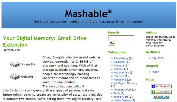 Before: Mashable 2005