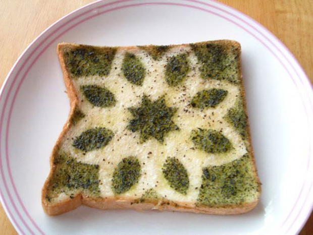 Cute Toast Art  by Japanese-a pattern print on slice of bread