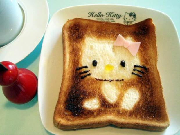 Cute Toast Art  by Japanese-hello kitty print on slice of bread