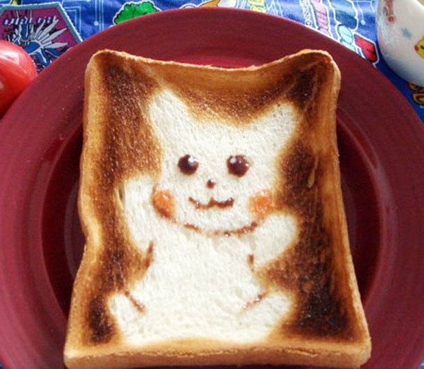 Cute Toast Art  by Japanese-pikachu print on slice of bread
