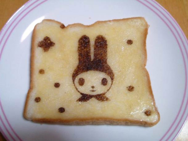 Cute Toast Art  by Japanese-cartoon print on slice of bread