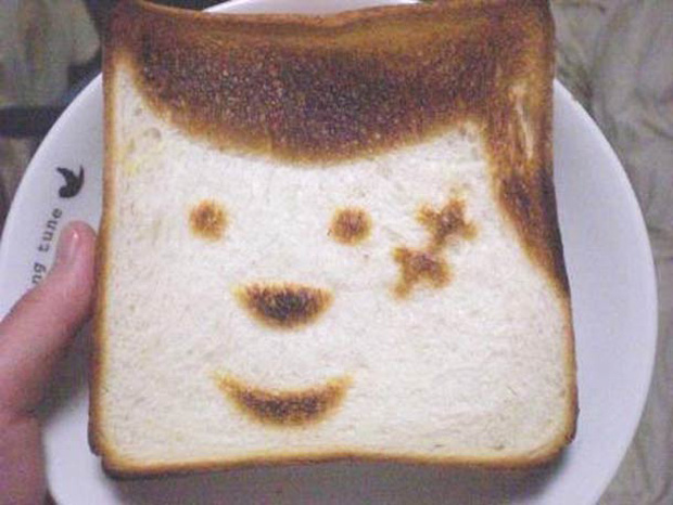 Cute Toast Art  by Japanese-image  print on slice of bread