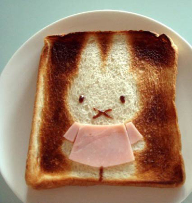 Cute Toast Art  by Japanese-rabbit print on slice of bread