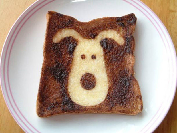Cute Toast Art  by Japanese-a dog print on slice of bread