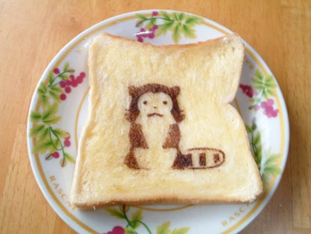 Cute Toast Art  by Japanese-animal print on slice of bread
