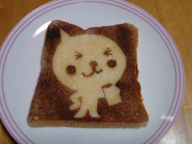 Cute Toast Art  by Japanese- a kitten  print on slice of bread