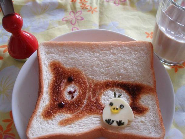 Cute Toast Art  by Japanese-a bear print on slice of bread