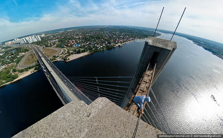 Amazing photo taken from top of South bridge, Kiev, Ukraine