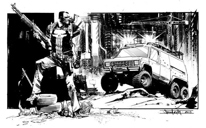 The Punisher-Superhero Comics Showcased In Beautiful Black And White Portraits