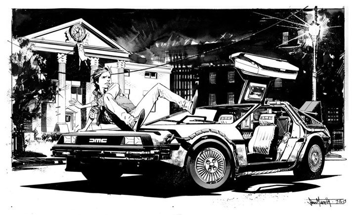Marty McFly and the Delorean (Back to the Future)- Beautiful Black And White Portraits