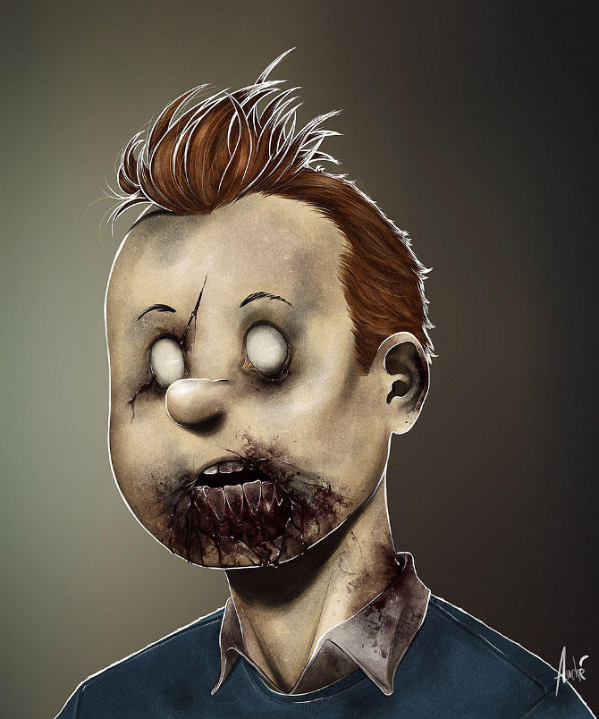 Tintin-Your Favorite Heroes Turned Into Dangerous Zombies By A Virus Infection