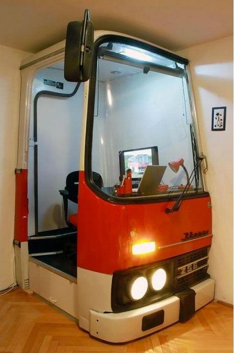 bus customized as an office-Unusual Home Office Ideas