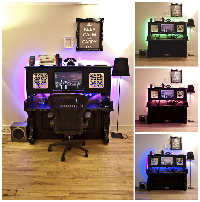 piano transformed into an office-Unusual Home Office Ideas