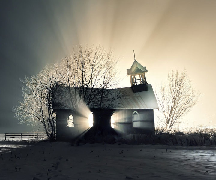 An abandoned church in the snow-Most Fascinating Abandoned Places Of The World