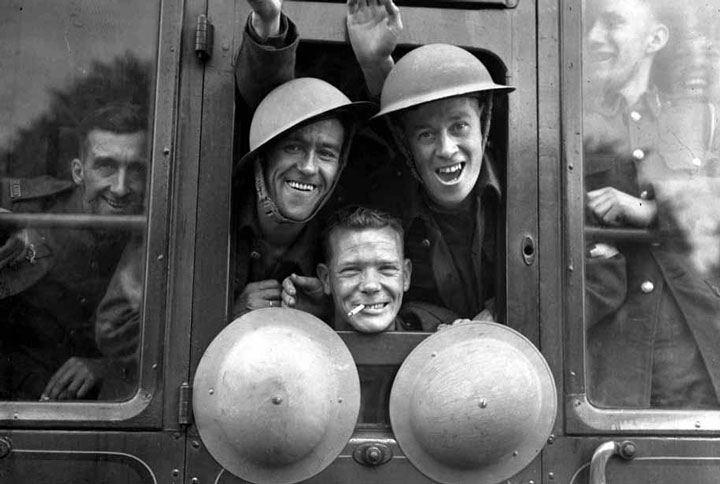 British soldiers happy aboard their train to their first training before joining the front, 1939-colorized version