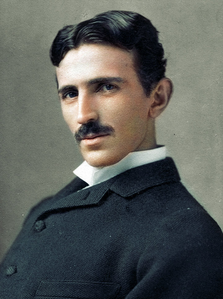 Nikola Tesla, 1893-colorized photo