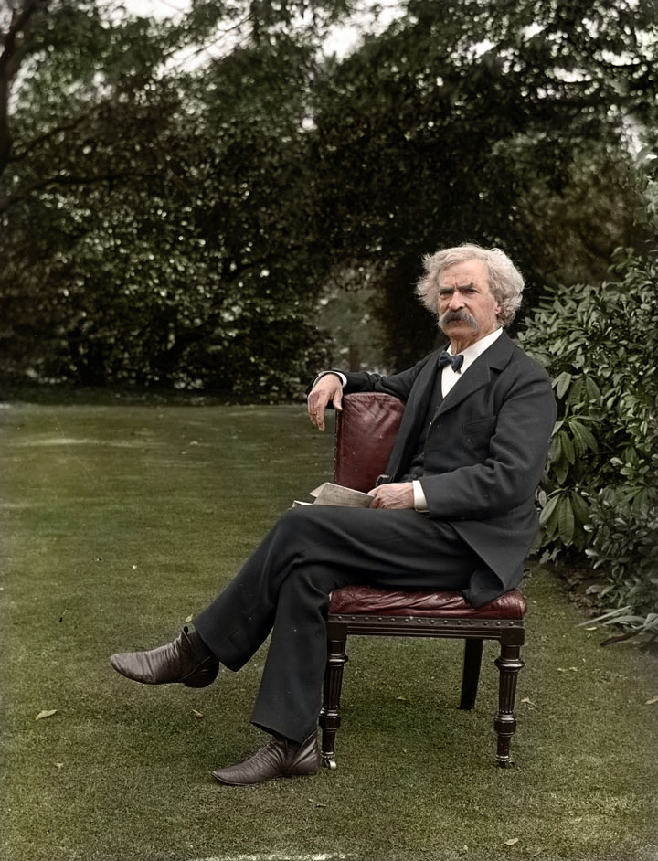 Mark Twain in a garden, 1900-colorized photo