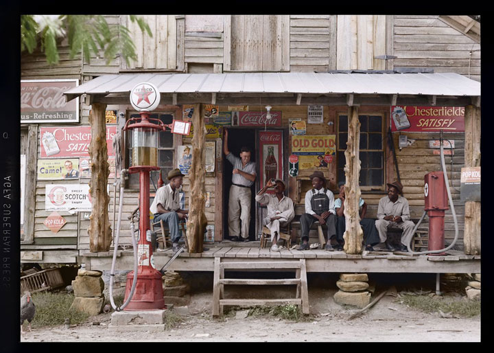 """Old Gold"" country store, 1939-colorized version"