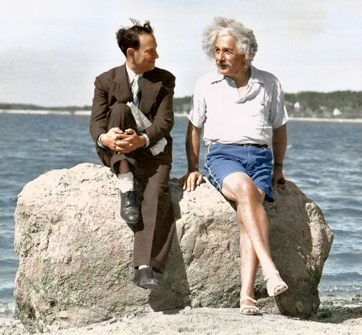 Albert Einstein, Summer 1939, Long Island, New York-colorized photo