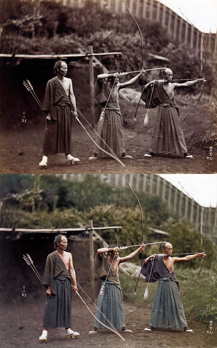 Japanese archers, 1860-Colored Photo