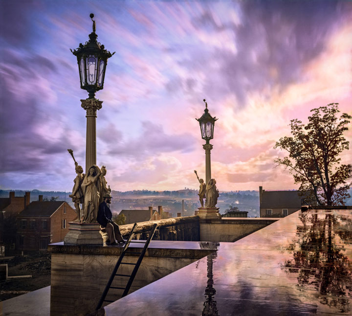 View from the Capitol in Nashville, Tennessee, during the Civil War, 1864-Colorized photo