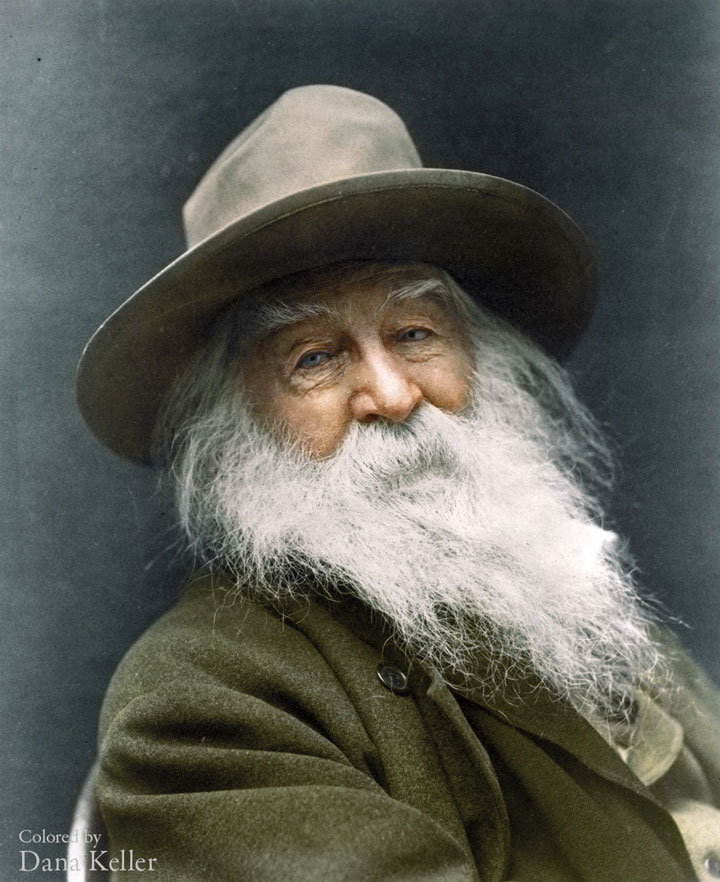 Walt Whitman, 1887-colorized photo