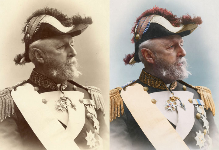 Oscar II, King of Sweden and Norway, 1880-colorized version
