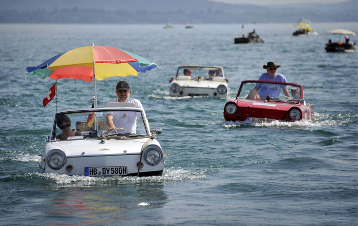 In this small amphibious car in Switzerland