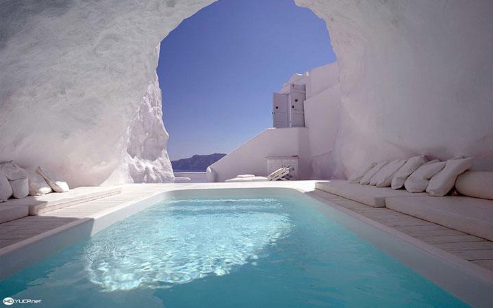 In this cave pool in Santorini (Greek Island)