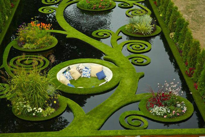 In a romantic pool garden in New Zealand