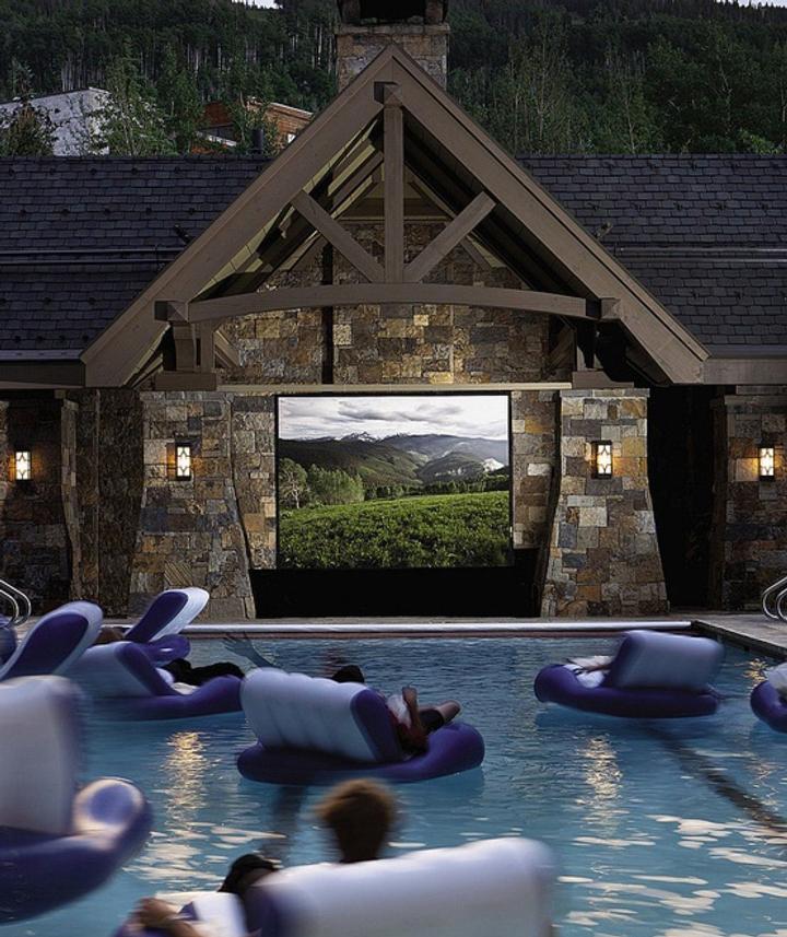 In an aquatic cinema