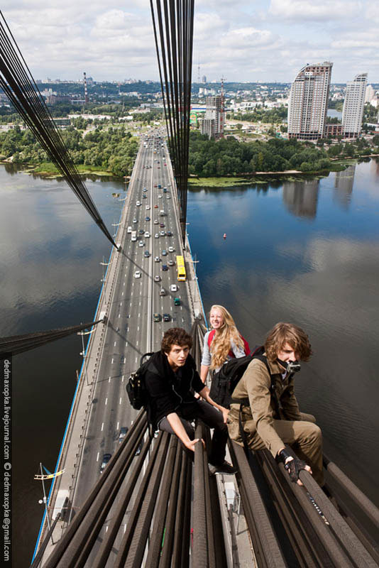 amazing photo taken from a top of a very high bridge