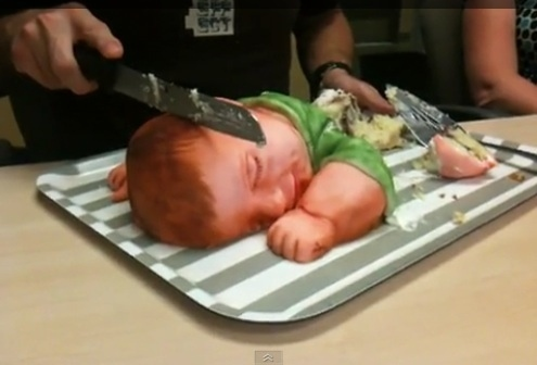 A sleeping boy designed cake